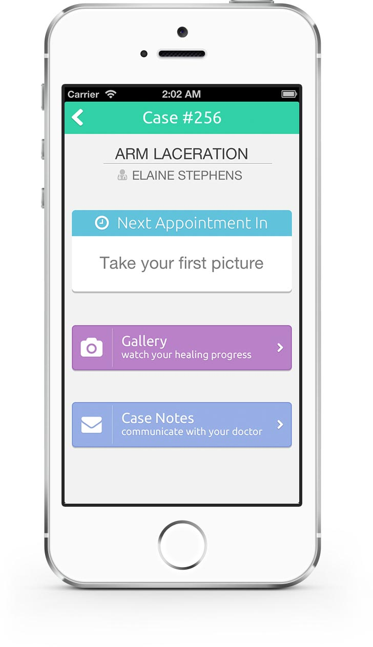 iPhone mobile patient or visiting nurse app for wound monitoring